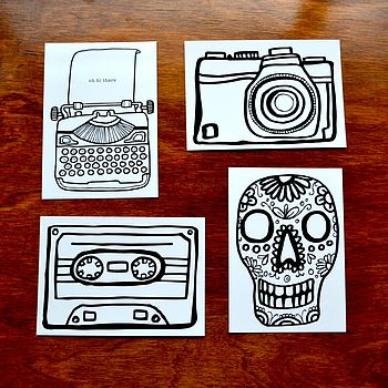 Four Black & White Illustrated Postcards