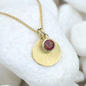 Fire Citrine Necklace With 18ct Gold Petal - precious gemstones