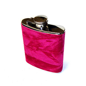Velvet Covered Hip Flask - drink & barware
