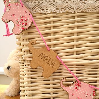 Personalised New Baby Girl Wooden Bunting