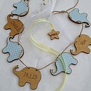 Personalised New Baby Boy Wooden Bunting