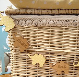 Personalised New Baby Elephant Bunting - children's room accessories