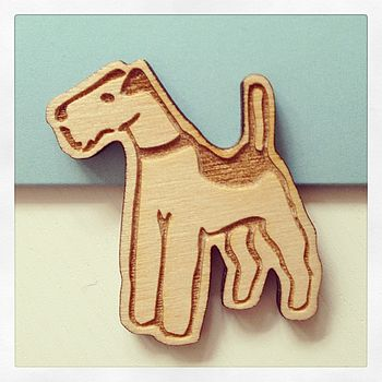 Wooden Terrier Brooch