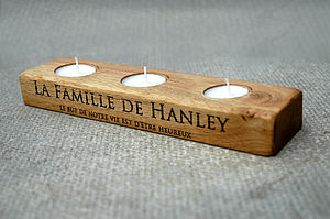 Personalised Oak Tea Light Holder - dining room