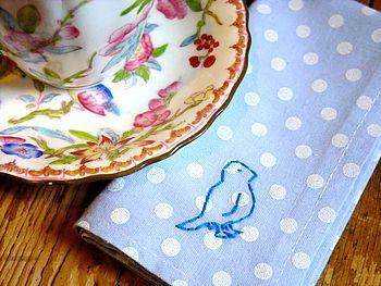 Handmade Polka Dot Bird Handkerchief