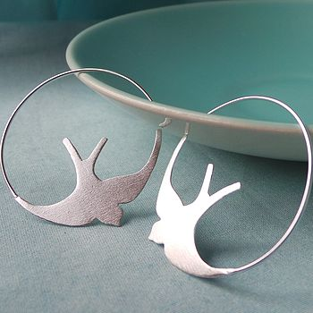 Silver Swallow Hoop Earrings