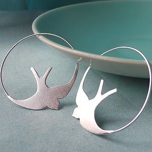 Silver Swallow Hoop Earrings - earrings