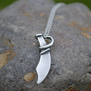 Handmade Silver Pirate Cutlass Necklace