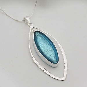 Murano Glass & Silver Hammered Elipse Pendant - jewellery
