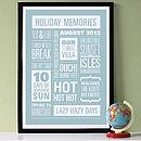 Personalised Memories Print - White on Powder Blue