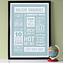 Personalised Memories Print - White on Powder Blue