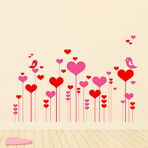 Heart And Flower Garden Wall Sticker Pack - wall stickers