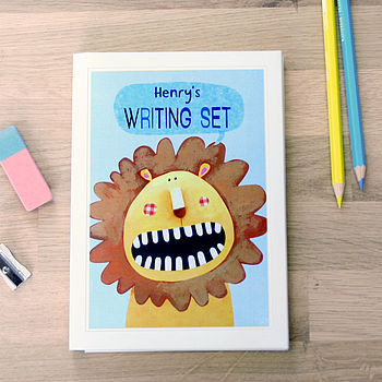 Personalised Lion Notecards Writing Set