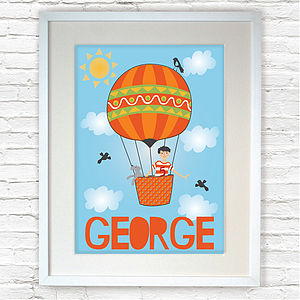 Personalised 'Boy In A Balloon' Print