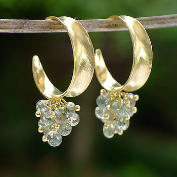 Sapphire Leaf Hoop Earrings In 18ct Gold