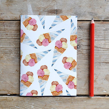 Happy Ice Cream Blank A6 Notebook