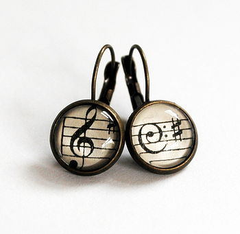 Music Note Earrings Vintage Copper