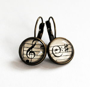 Music Note Earrings Antique Bronze Or Copper