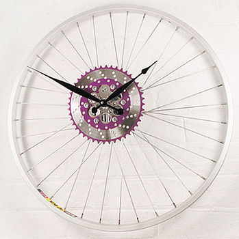 Bike Sprocket Wheel Clock Purple