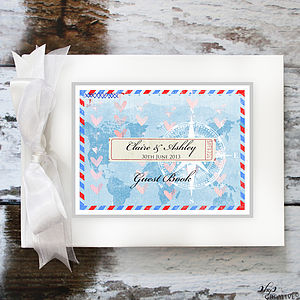 Air Mail Wedding Guest Book - travel inspired