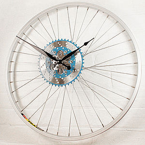 Bike Sprocket Wheel Clock Blue - living room