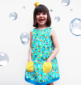 Aqua Toadstool Girls Dress