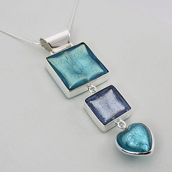 Murano Glass Triple Square And Heart Pendant - Aqua Blue & Ice Blue
