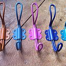 Left to right: burnt orange, soft blue, pink (sorry n/a), willow blue (sorry n/a), turquoise