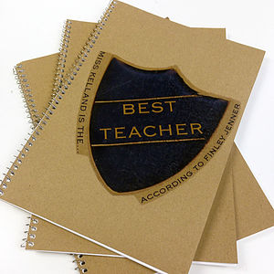 Personalised Badge Teachers Notebook - thank you gifts for teachers