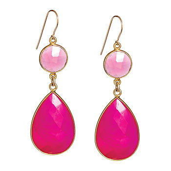 Fuchsia Chalcedony & Gold Adorn Me Earrings