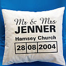 Personalised Mr & Mrs Venue Cushion