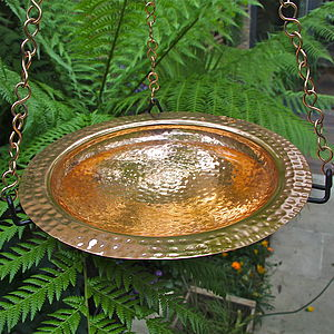 Copper Hanging Birdbath With Iron Ring