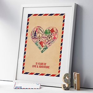Personalised Passport Stamp Heart Print - for travellers