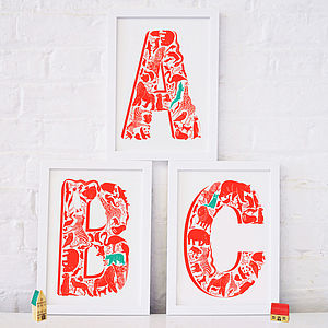 Animal Alphabet Set Of Three Letters - canvas prints & art for children