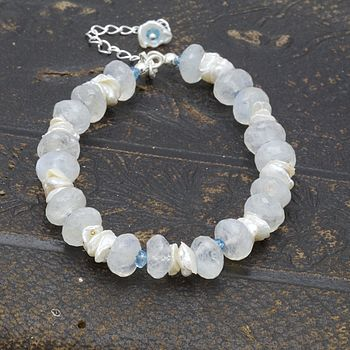 Moonstone, Apatite And Pearl Bracelet