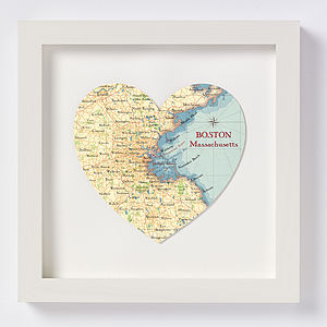 Boston Map Heart Print