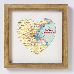 Boston Map Heart Print - prints & art