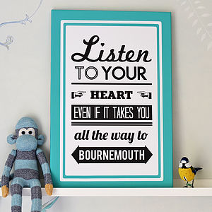 Personalised Follow Your Heart Location Print - paintings & canvases