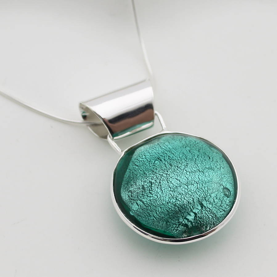 Silver Pendant With Circle Of Murano Glass