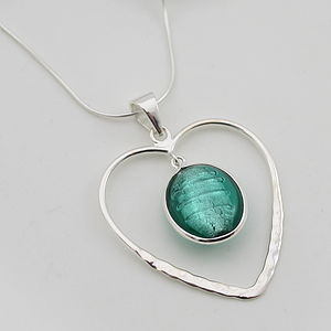 Heart Pendant In Silver With Murano Glass