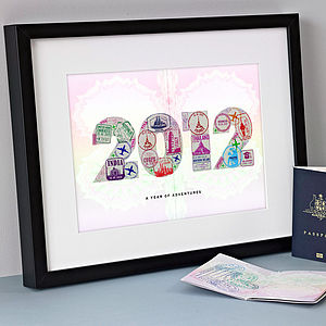 Personalised Passport Stamps Year Print - shop by price
