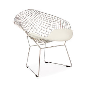 A White Chrome Diamond Retro Modern Chair - furniture delivered for christmas