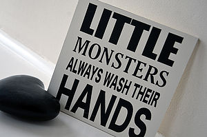 Little Monsters Bathroom Signs - outdoor decorations