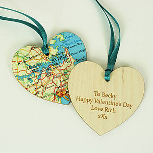 Map Location Hanging Heart Keepsake - love tokens