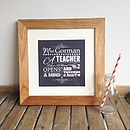 'A Teacher' Personalised Typographic Print