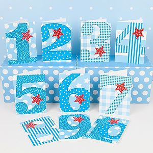 Pack Of Ten Boys 'Age' Birthday Cards - winter sale