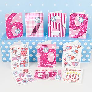 Pack Of 10 Birthday Cards For Older Girls - birthday cards