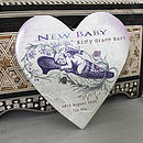 Personalised Ceramic Heart New Baby Keepsake