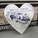 Personalised Ceramic Heart New Baby Keepsake