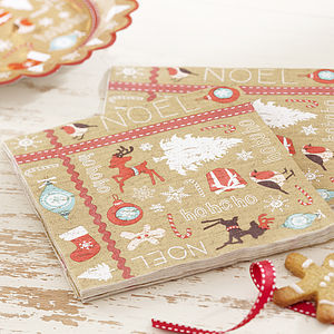 Vintage Style Christmas Paper Napkins - last-minute christmas decorations